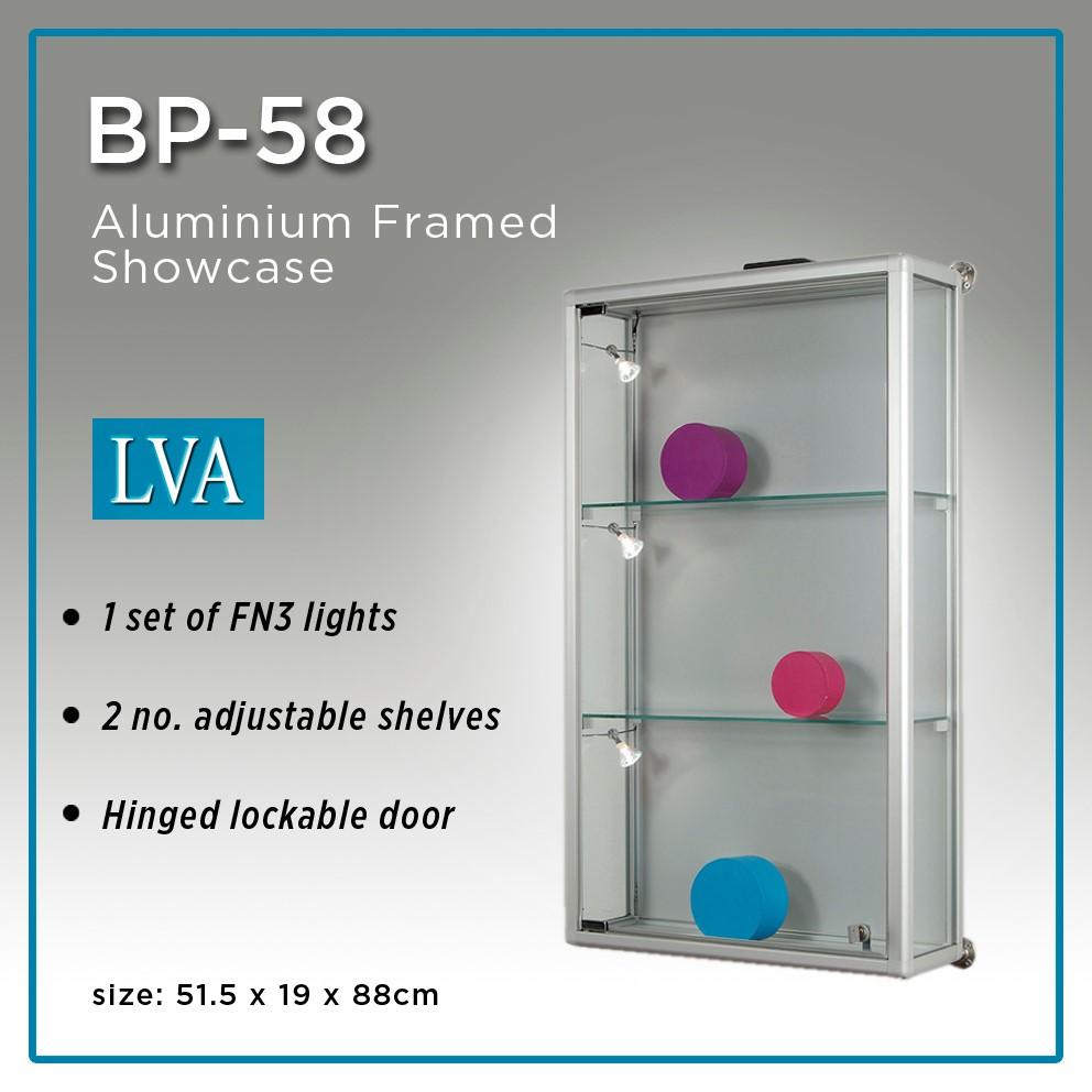 BP 58 88H x 51.5Wcm Aluminium framed wall showcase. 1