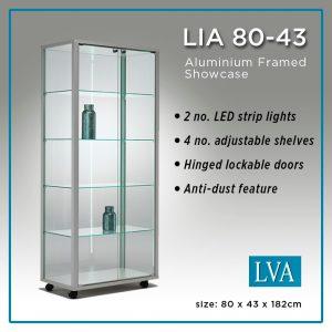 LIA 80-43 Floor Display Cabinet Aluminum framed glass anti-dust lit