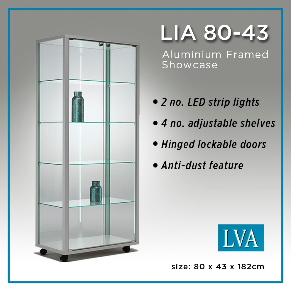 LIA 80-43 Floor Display Cabinet Aluminum framed glass anti-dust lit 1