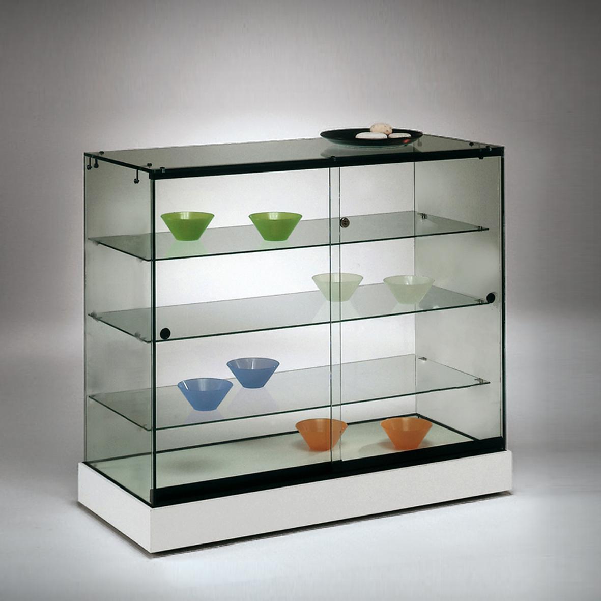 S146 Base Nova Frameless glass display counter with 3no. glass shelves lockable sliding doors and base 1