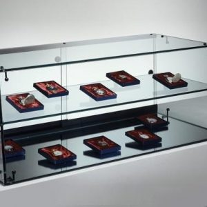 S14B Base Nova Angled front Glass Counter Top  with sliding lockable doors and shelf