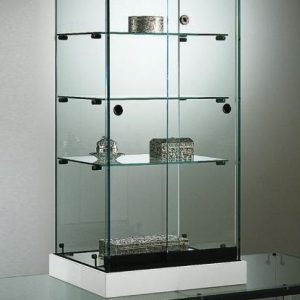 S16 Base Nova Glass Counter top display with lockable doors and 3no. shelves and base
