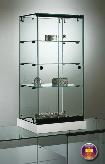 S16 Base Nova Glass Counter top display with lockable doors and 3no. shelves and base 1